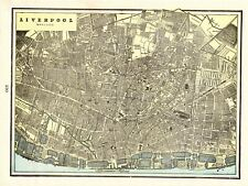 1895 Antique LIVERPOOL England Map Vintage Map of Liverpool Crams Atlas Map 7094