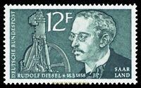 EBS Germany 1958 Saar Saarland Rudolf Diesel Michel 432 MNH**