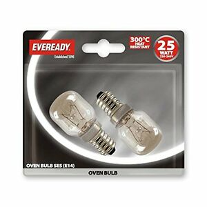 2x Eveready 25w E14 SES Transparent 240v Four Appareil ampoule 300 Degrés