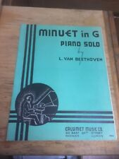 Vtg Sheet Music: Minuet in G Piano Solo, Beethoven 1935