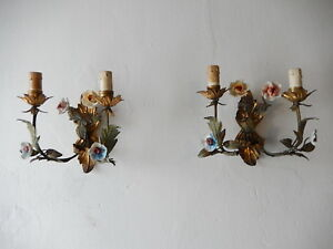 ~c 1870 Italian Porcelain Roses Tole Sconces RESERVED FOR ANNIE #7~
