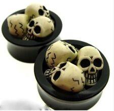 "Skull Plugs Plug Double Flared Gauges Gauge Pair Skull 9/16"" Inch 14Mm Uv 3"