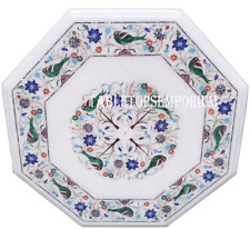 """15"""" White Marble End Coffee Table Top Mosaic Parrot Pietradure Art Outdoor Decor"""