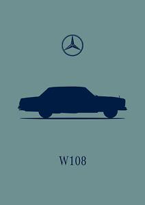 POSTER - MERCEDES BENZ W108 - S Class - (A4 A3 A2 Size) Art Print Car Silhouette