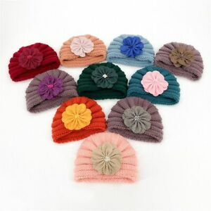 Pearl Baby Toddler Autumn Winter Elastic Infant Kids Hair Bands Knitted Caps
