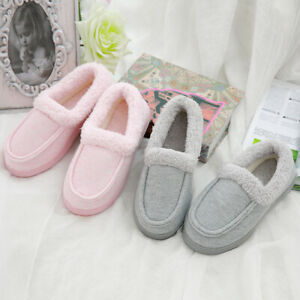 Womens Slippers Ladies Bedroom House Indoor Winter Warm Shoes Rubber Sole Size
