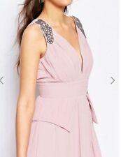 New Little Mistress Pink Blush Chiffon Silver Sequin Shoulder Maxi Dress  UK 12