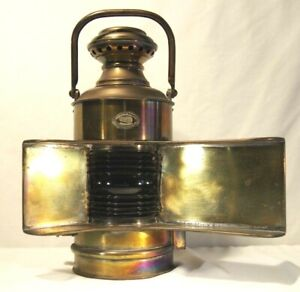 Perko Vintage Large Brass Nautical Lamp Light reflector Blue Lens Handle