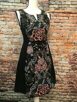 Anthropologie Moulinette Soeurs Black Embroidered Floral Design Halter Dress, 2
