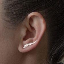 Gold Feather Earrings Ear Climber Set Cuffs Pins Leaf Ear Crawler New Jewelry