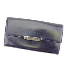 Cartier Wallet Purse Long Wallet Black Silver Woman unisex Authentic Used T5192