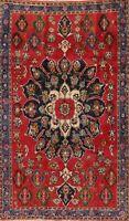 Vintage Floral Bidjar Hand-Knotted Oriental Area Rug Medallion Wool Carpet 5'x8'