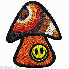 Mushroom Smiley Face 70's Happy Hippie Boho Love peace Rasta Iron on Patch R006