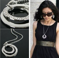 Womens Silver Plated Circular Crystal Rhinestone Pendant Long Chain Necklace