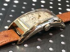 Vintage Bulova Curvex 52mm men's wristwatch works yellow gold filled 1940's