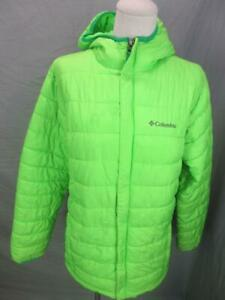 Columbia Size XL(18) Boys Lime Green Full Zip Insulated Hooded Quilted Jacket