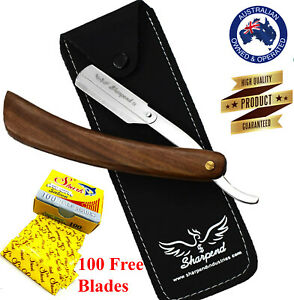 BARBER SALON STRAIGHT CUT THROAT SHAVING RAZOR SHAVE RASOIRS RASOI +100 BLADES