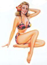 SEXY VINTAGE Blond Nostalgic Fifties PIN-UP Beach GIRL  BIKINI STICKER/DECAL