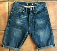 Men`s New Fat Face Denim Shorts Waist Size 28-30-32-34 Mid Blue Button Fly