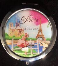 Paris France French Eiffel Tower compact folding portable pocket purse Mirror