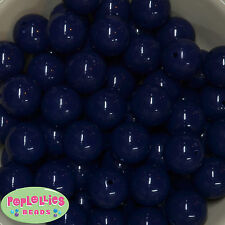 20mm Dark Navy Acrylic Solid Bubblegum Beads Lot 20 pc Chunky Jewelry Necklace