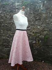 Coast Pink & White Midi Fit & Flare Dress High Collar 1950s Size 8