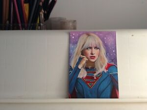 SUPERGIRL SUPERMAN ORIGINAL HAND MADE DRAWING SKETCH CARD VARIANT VERS° ACEO