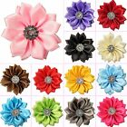 10/30pcs Satin Ribbon Flowers Bows with Appliques Sewing DIY Craft Wedding Decor