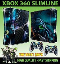 Xbox 360 Slim Cyber Punk Gasmaske Darkness Skin & 2 x Controller Polster Folien