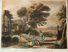 Beautiful Old Master Landscape Print 1774 after Claude Lorrain, Hand  Coloring