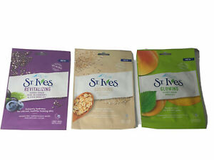 3 x ST IVES FACE MASK OATMEAL , CHIA & ACAI , APRICOT, SOOTHING, REVITALIZING