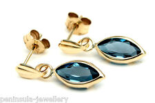 9ct Gold London Blue Topaz Drop Earrings Gift Boxed Made in UK Christmas Xmas