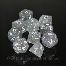 NEW 10 Clear Glitter RPG D&D Fantasy Game Dice Set in Tube D20 D12 D10 D8 D4 +