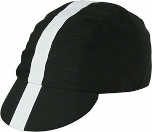 Pace Sportswear Classic Cycling Cap: Black with White Tape, MD/LG