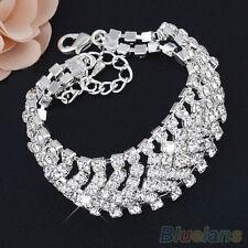 Women Luxury Multilayer Rhinestone Crystal Party Wrap Bangle Chain Bracelet Hot