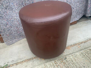Round stool seat on wood legs brown faux leather covered S2E140921F