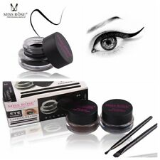 Long Lasting Waterproof Black & Brown Eyeliner Gel Brush Makeup Set 2 Colors