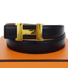 Authentic HERMES Logos Constance H Buckle Belt Leather Gold Black #74 68F105