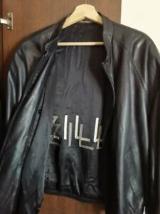Authentic Zilli 'Lund' Black Leather Jacket Size 56/Made in France Free Shipping