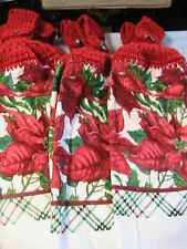 POINSETTIAS Lot of 2 CROCHET TOP KITCHEN, BATH, SHOP HAND COTTAGE TOWELS