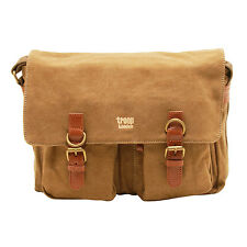 Troop London - Brown Canvas Classic Messenger Bag with Leather Trim