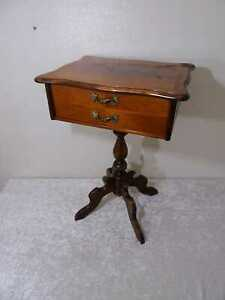 Wood Side Sewing Table - Vintage Style Antique Design
