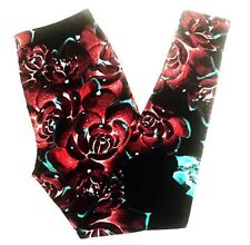 Buttery SOFT Gorgeous Floral Leggings Tall & Curvy XL Black Teal Red Roses TC