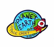 Planet Earth Space Cadet Enamel Pin Kitsch Retro Badge Brooch Aussie Seller