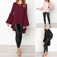 US STOCK Women Bell Sleeve Asymmetrical Tops Loose Casual Tunic Blouse Shirt NEW