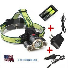 Outdoor High-power 3XCREE XML T6 LED 4-mode Headlamp C214+Charger&18650 From USA