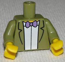 Lego New Olive Green Minifigure Torso Jacket White Shirt Purple Bow Tie