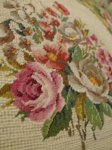 """18"""" Rose Garland French Palace Style Chic Shabby Needlepoint Throw Pillow"""