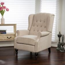 GDF Studio Elizabeth Light Beige Tufted Fabric Arm Chair Recliner
