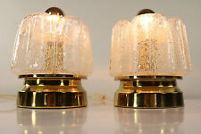 Vintage Doria Bedside or Table Lamps Foami Handblown Glass Shades 1960's - 1970'